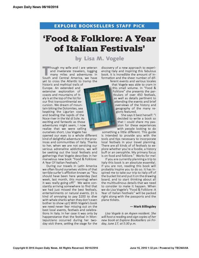 AspenDailyNews BOOK REVIEW Food & Folklore A Year of Italian Festivals
